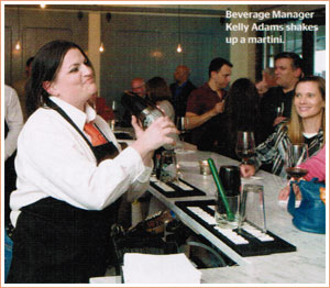 Beverage Manager Kelly Adams shakes up a martini